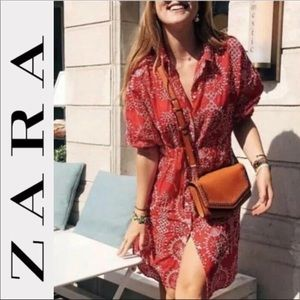 ZARA Embroidered Tunic Red Dress NEW Size Large